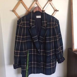 VINTAGE On Trend Wool Blend Plaid Blazer Jacket XL